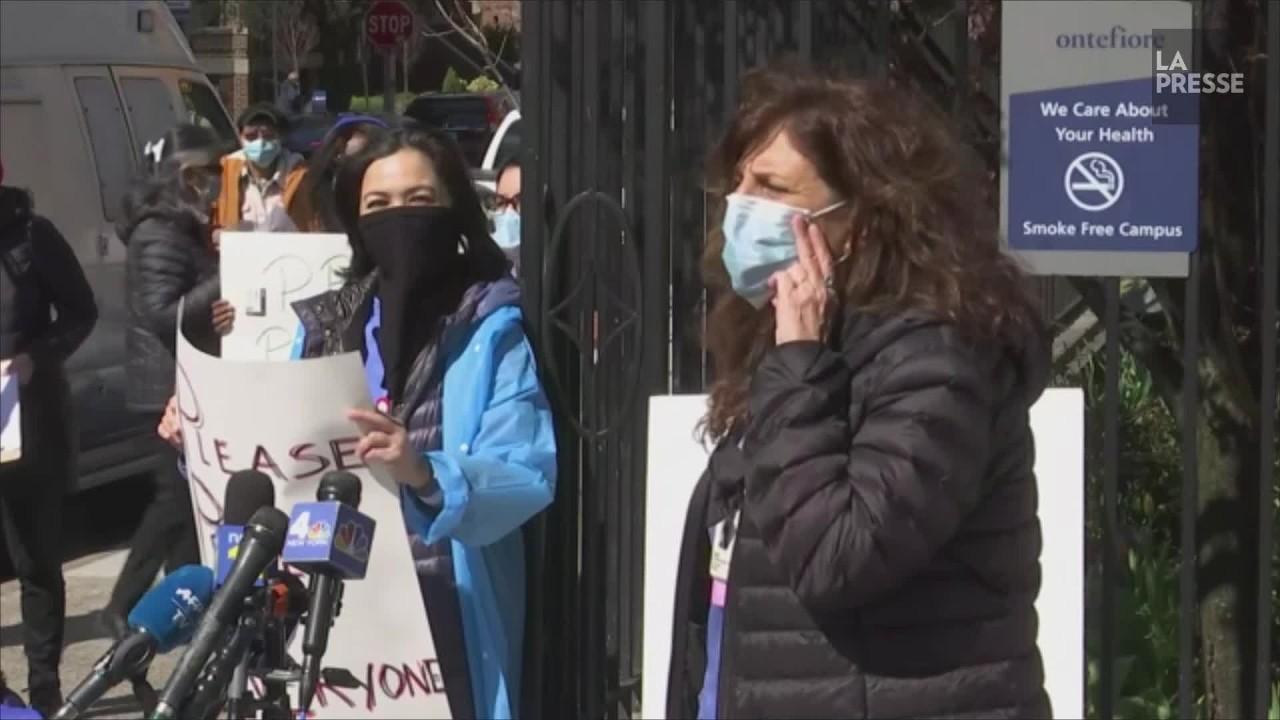 «Pas de guerre sans armes»: à New York, des infirmiers dénoncent le manque d'équipement