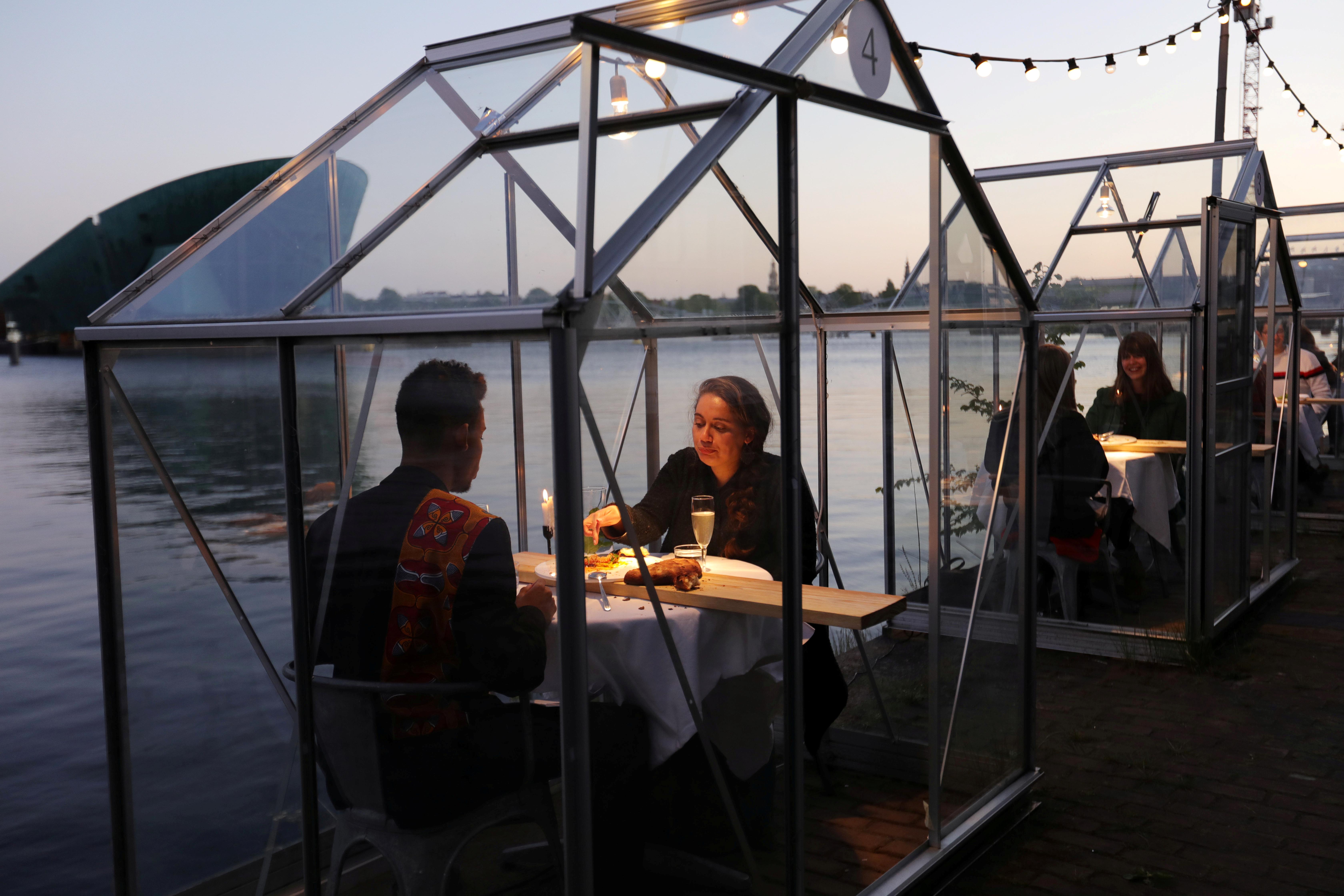 Chacun sa serre dans un restaurant d'Amsterdam